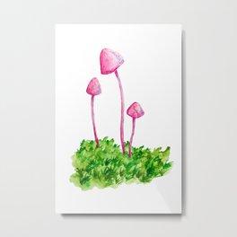 Pink Mushrooms Metal Print