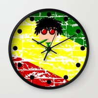 reggae Wall Clocks featuring Reggae Kazoo by mailboxdisco
