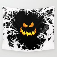 olaf Wall Tapestries featuring Nightmare Halloween Smile Jack by alexa
