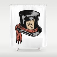 mad hatter Shower Curtains featuring Mad Hatter by Countmoopula