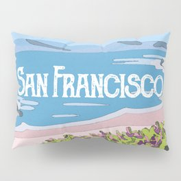 San Francisco, California Beach Succulents Illustration Pillow Sham