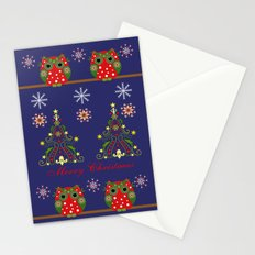 Pattern design with Christmas owls, trees and snowflakes Stationery Cards