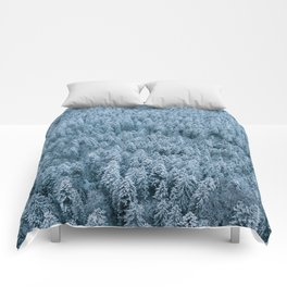 Winter pine forest aerial - Landscape Photography Comforters