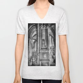 Pulpit in Black and White Unisex V-Neck