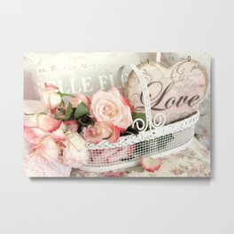 Shabby Cottage Love Heart Roses Floral Garden Decor Metal Print
