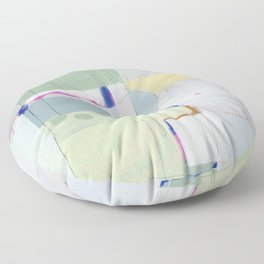 Rockpile II - abstract painting in navy, mint, cream, white, and pink Floor Pillow