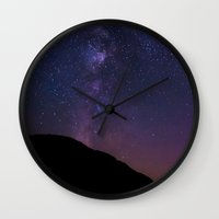 milky way Wall Clocks featuring Milky Way by Jon Bilous