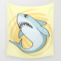 shark Wall Tapestries featuring Shark by Christie Kovalchick