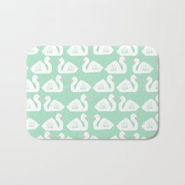 Swan minimal pattern print mint and white bird illustration swans nursery decor Bath Mat