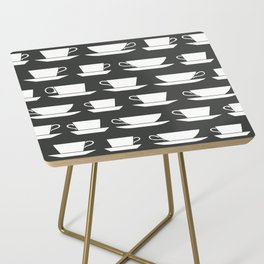 Pattern of Coffee and Tea Cups Side Table
