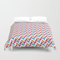 bows Duvet Covers featuring Bows by Amy Lou