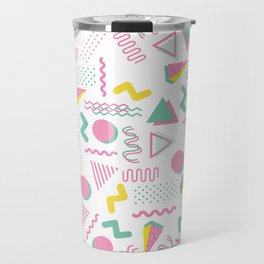 Abstract retro pink teal yellow geometrical 80's pattern Travel Mug