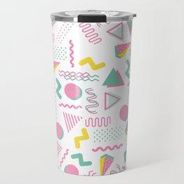 Abstract retro pink teal yellow geometrical 80's pattern Travel Mug