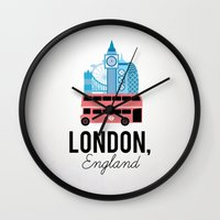 england Wall Clocks featuring London, England by Milli-Jane