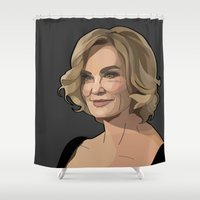 coven Shower Curtains featuring Lady Grey by Grace Teaney Art