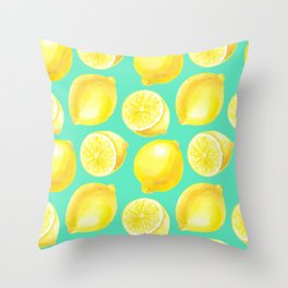 Watercolor lemons pattern Throw Pillow