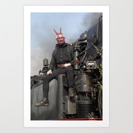 Steam locomotive with mephistopheles. Art Print