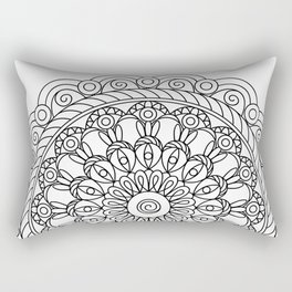black&white mandala with spiral Rectangular Pillow