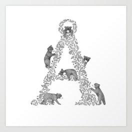 Bearfabet Letter Å Art Print