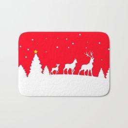deer family in winter landscape Bath Mat