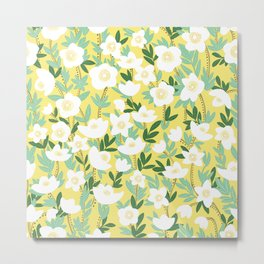 Lemonade Wildflowers Pattern Metal Print