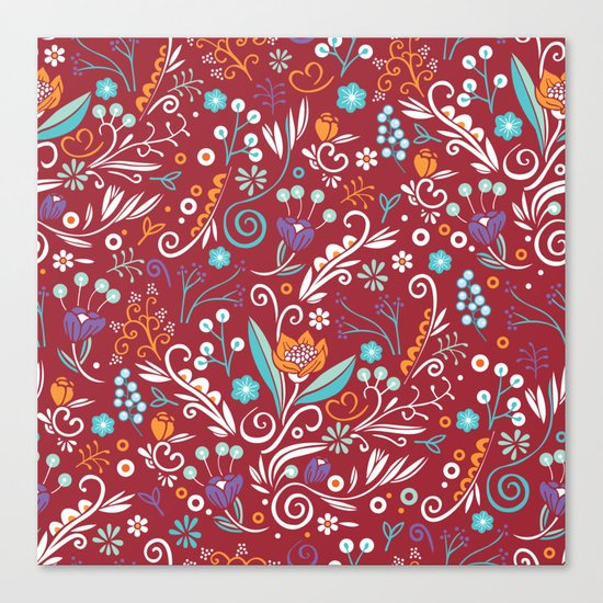 Flower circle pattern, red Canvas Print