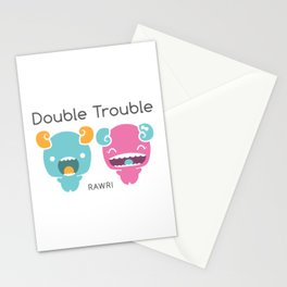 Twin Monsters Stationery Cards