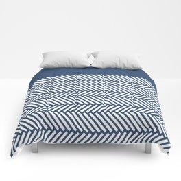 Herringbone Boarder Navy Comforters