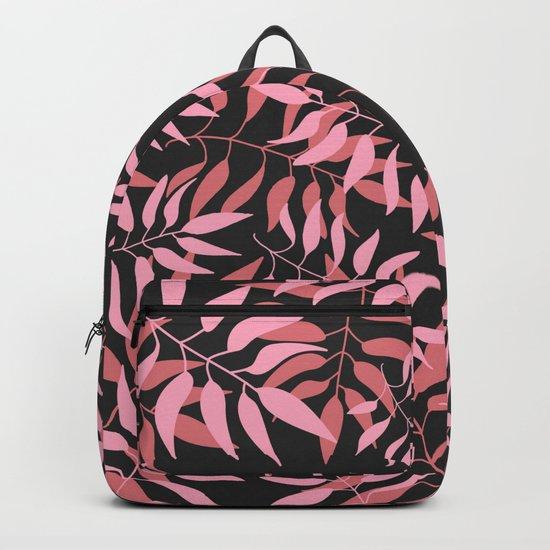 Dark Pink Leaves Backpack