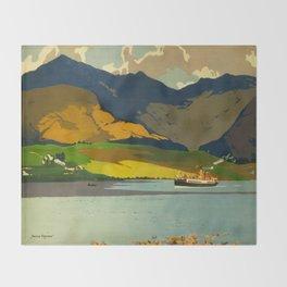 Loch Awe Vintage Mid Century Art Travel Poster British Railways Colorful Landscape Throw Blanket