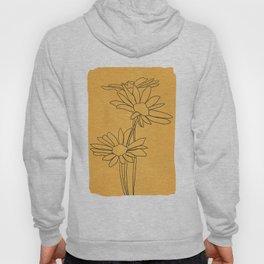 Minimal Line Art Flowers Hoody