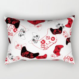Video Game White and Red Rectangular Pillow