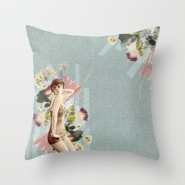 Feminine Collage III Throw Pillow