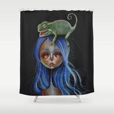 Little Chameleon Head Shower Curtain