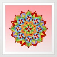 manchester Art Prints featuring Manchester Mandala  by Patricia Shea Designs