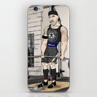 fitness iPhone & iPod Skins featuring Campbell Fitness Deadlift by Juan Perednik