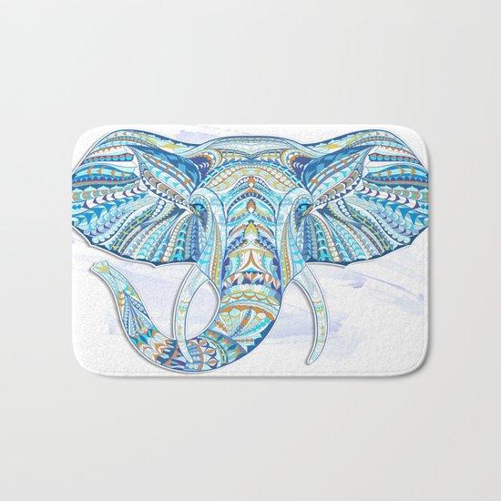 Blue Ethnic Elephant Bath Mat