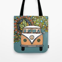 vw bus Tote Bags featuring VW bus by Woosah