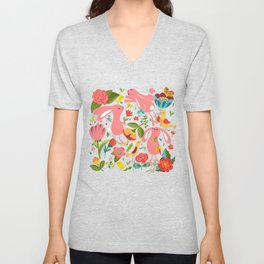 Bunnies in the wild Unisex V-Neck