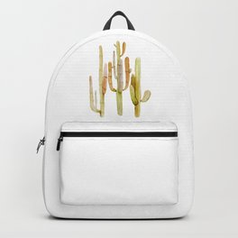 Minimalist Cactus Drawing Watercolor Painting Southwestern Green Cacti Backpack