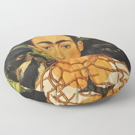 Frida Kahlo Self-Portrait Thorn Necklace and Hummingbird Floor Pillow