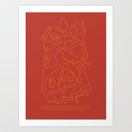 F1 Circuits Infographic- Orange and Red Art Print