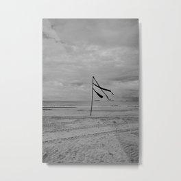 A flag can wave all day - Scheveningen The Hague Netherlands photo | Black and white monochrome noir beach ocean wind minimal nature photography art print Metal Print