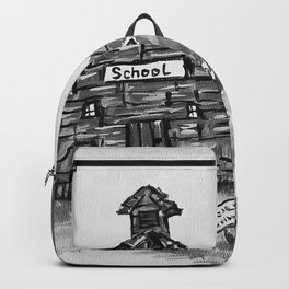 School House, Black and White Print of Primitive Art, Painting by Faye Backpack