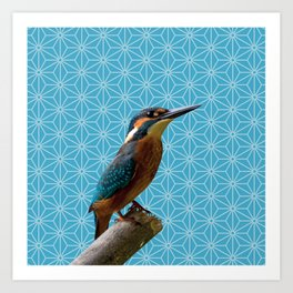 Kingfisher Montage (Norse Blue) Art Print