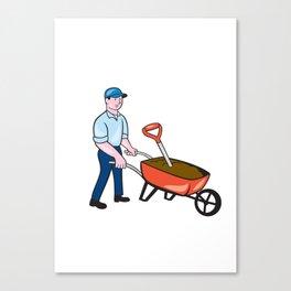 Gardener Pushing Wheelbarrow Cartoon Canvas Print
