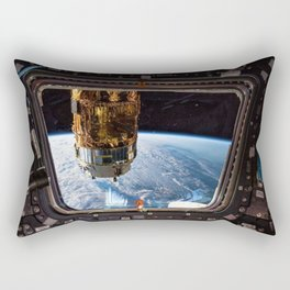 Space Station Window Overlooking Planet Earth Rectangular Pillow