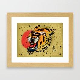 Tiger flash tattoo digital art.. Framed Art Print
