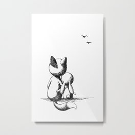 Fox and a rabbit Metal Print