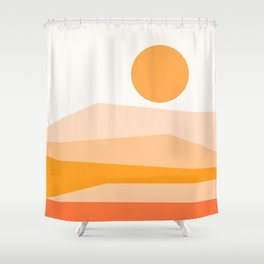 Abstract Landscape 09 Orange Shower Curtain